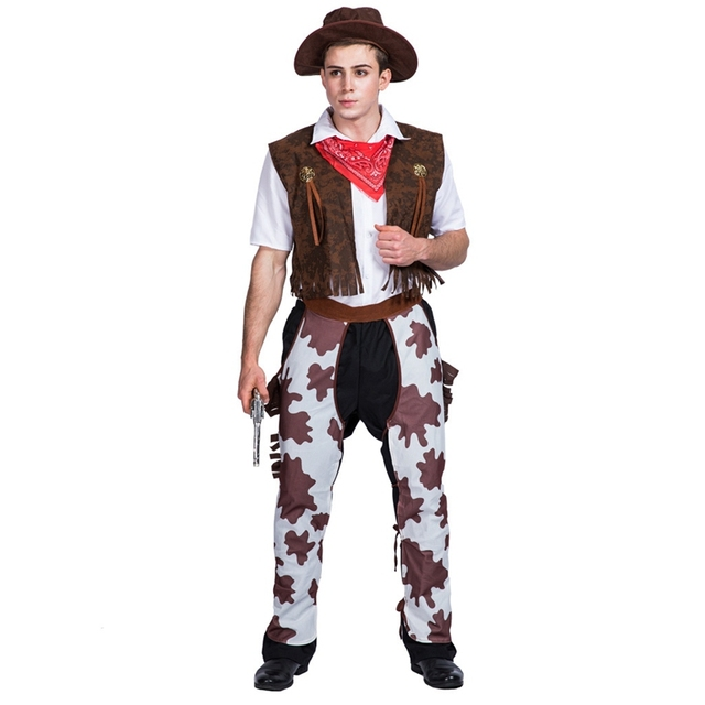 2fa662c7b Western Cowboy Costume Mens Wild West Sheriff Adult Rodeo Fancy Dress Outfit