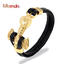 MKENDN New Fashion Gold Lion Stainless Steel Anchor Shackles Black Braid Leather Bracelet Men Wristband Fashion Jewelry(China)