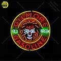 Неоновая вывеска для Gilmore  бензиновая неоновая лампа  знак зеленого пива  неоновая вывеска  световая вывеска  стеклянная трубка  знаковая св...