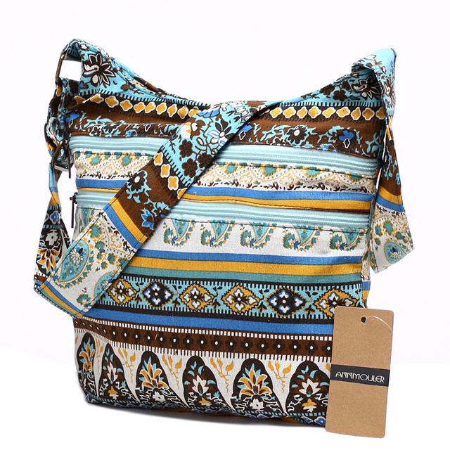 Women Shoulder Bag Bohemian Style Hippie Hobo Bag Double Zipper Bag Sling Crossbody Messenger Bag 4