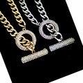 Мода простой пара ювелирные изделия золото/серебряная цепочка круг инкрустированные горный хрусталь колье ожерелье мужчины женщины модный хип-хоп панк bijoux