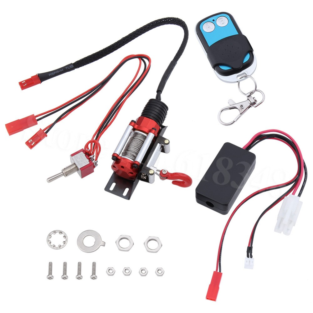 Treuil automatique de chenille de roche de 10x CNC RC + télécommande et récepteur sans fil réglés pour la voiture d'escalade axiale SCX10 RC4WD D90 de 1:10