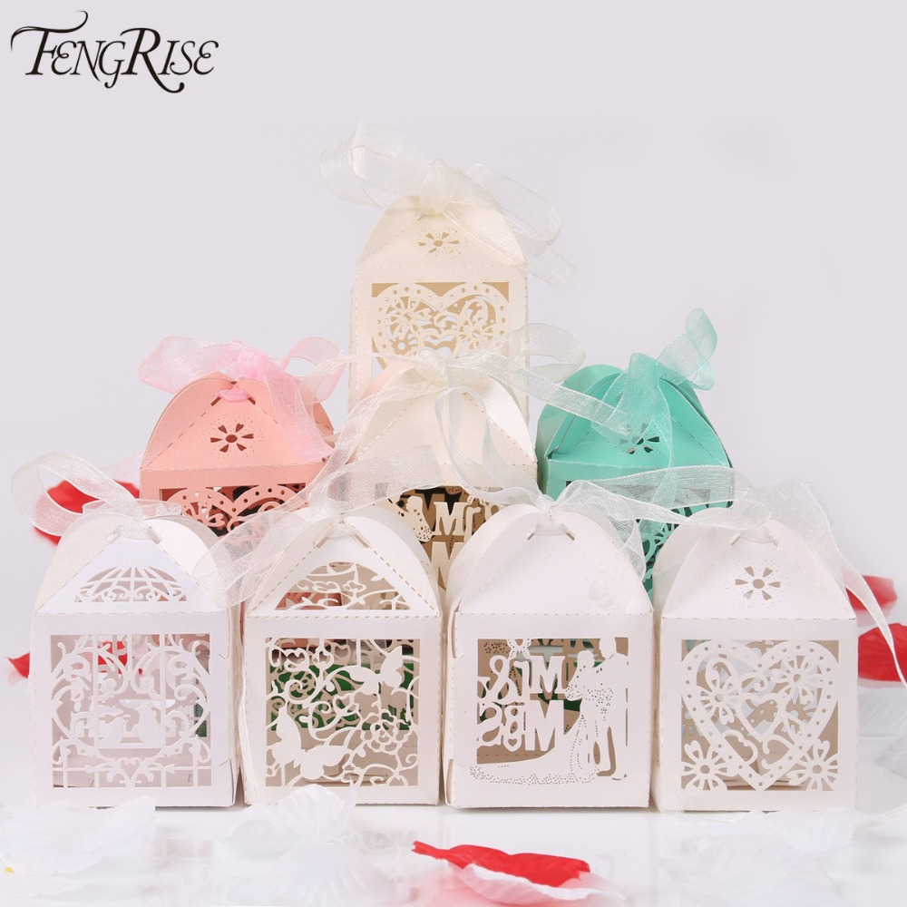 Fengrise 50pcs Mr Mrs Wedding Candy Box Sweets Gift Favor