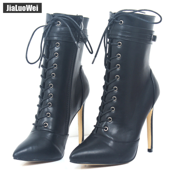 jialuowei Women Boots 12CM High Heels Sexy Fetish Pointed Toe Ankle Boots Ladies Shoes Botas Mujer Plus size