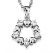 Fashion Jewelry Silver Plated CZ Zirconia heart necklace for girlfriend Women Female Christmas Gift bijoux femme