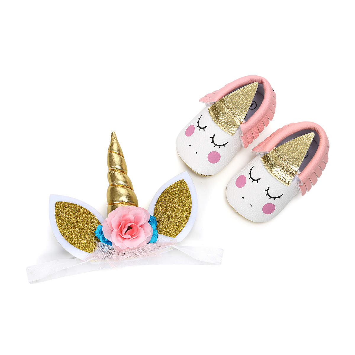 ROMIRUS Fashion Tassel Baby Moccasins Headwear Gift Set New Born Baby Shoes Baby Hair Accessories First Walkers