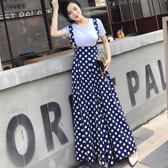9a581fcc96b6 2018 summer new co ord set 2 piece outfits suit women dot palazzo wide leg  pants culotte strap full trousers+knit short T shirt