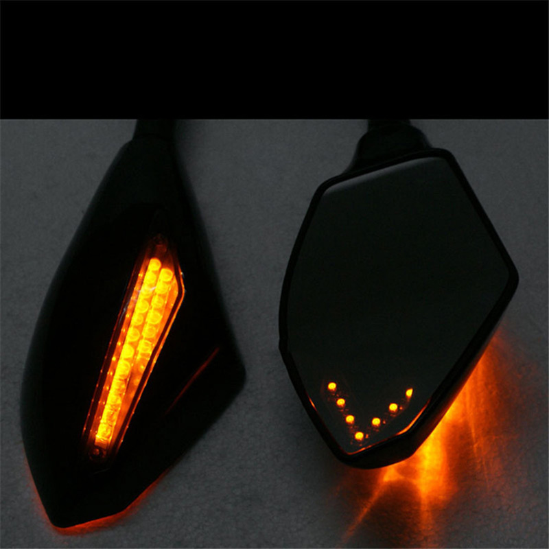 'The Best' 2pcs Motorcycle Rearview Mirrors Black With LED Turn Signal For Honda Kawasaki Suzuki 889