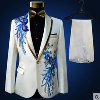 Custom Made embroidery white/ivory/pink/blue Mens Suits With Pants Groomsmen Groom Tuxedos Wedding Men Suit( jacket+Pants+tie)