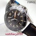 43 мм Parnis черный циферблат керамический ободок окошко даты сапфировое стекло miyota автоматическое движение Мужские часы