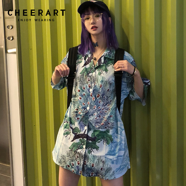 19d504177fcab Cheerart Harajuku Long Floral Blouses Peacock Print Lapel Boyfriend Shirt  Japanese Summer Top Femme 2018