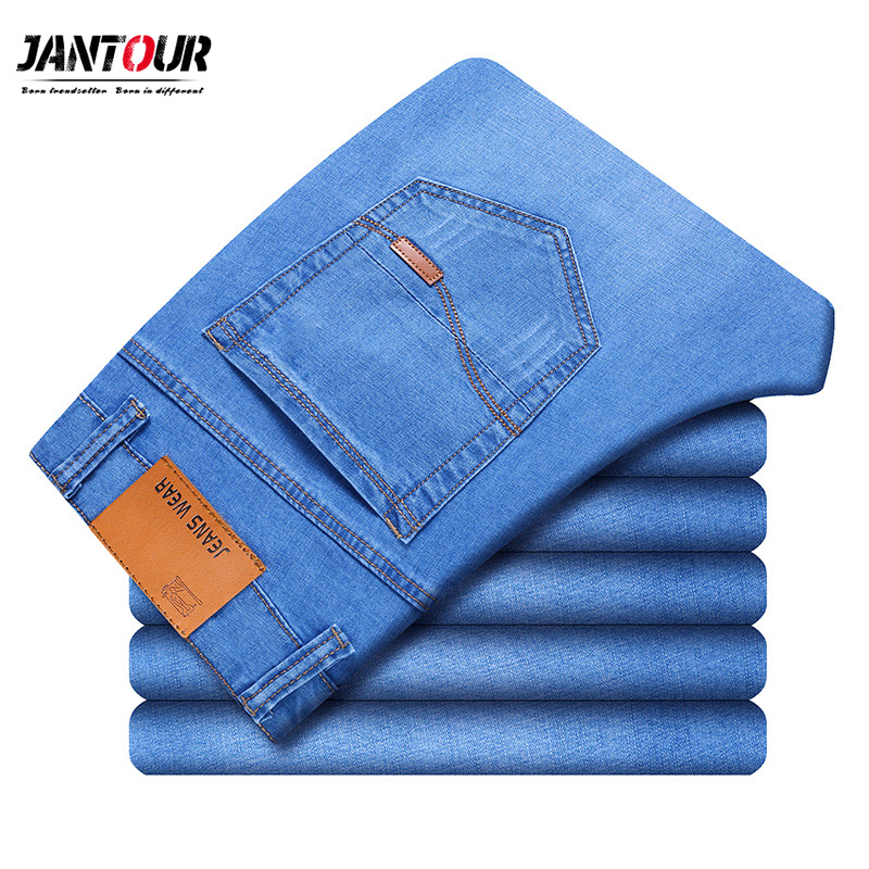 2019 New Mens brand   jeans   Fashion Men Casual Slim fit Straight High Stretch Feet skinny   jeans   men blue hot sell male trousers