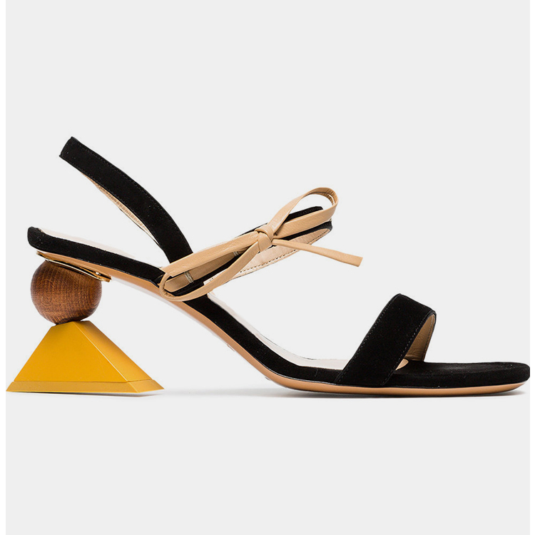 2018 New Women Sandals Geometric Heel Open Toe Suede Summer Shoes Genuine Leather Bow Tie Fashion Sandalias zapatos de mujer2018 New Women Sandals Geometric Heel Open Toe Suede Summer Shoes Genuine Leather Bow Tie Fashion Sandalias zapatos de mujer