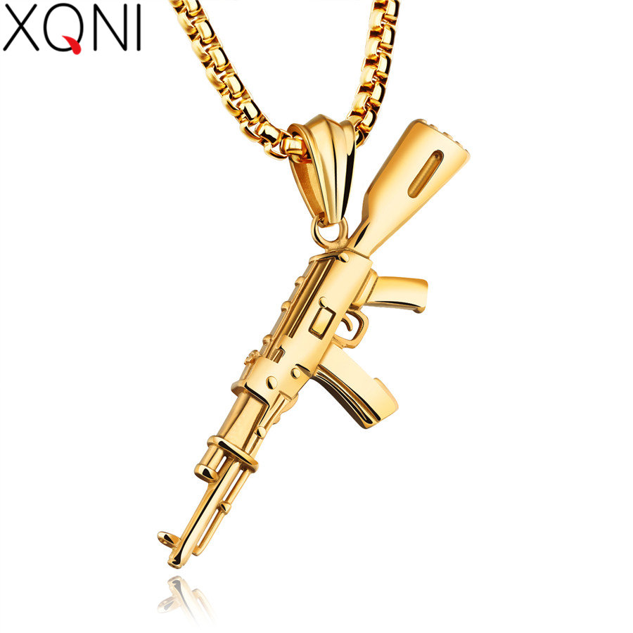 XQNI Men Necklaces AK-47 Rifle Pattern Iced-Out Pendant Necklace Stainless Steel Hip Hop Bike Military For Men Fashion Jewelry circle