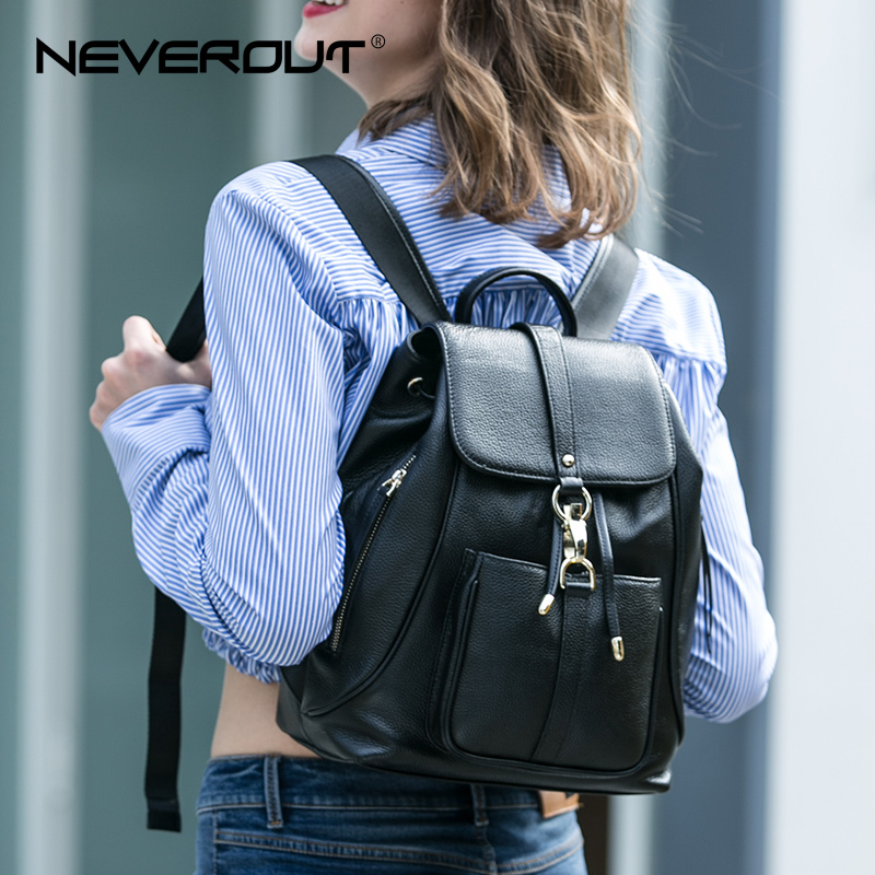 NEVEROUT Black Backpacks for Women Real Leather School Bags Solid Ladies Backpack Brand Female Travel Back Book Bag for Girls цена