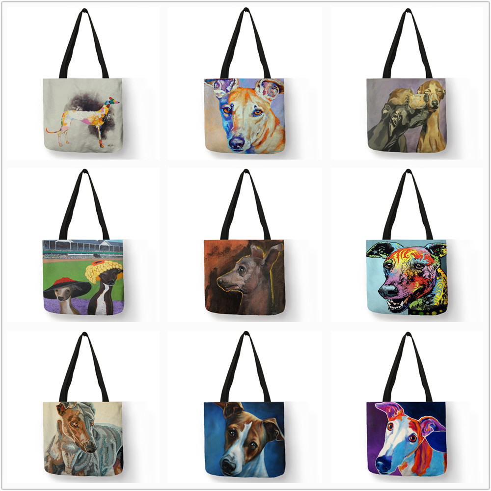 Personalized Oil Painting Greyhound Dog Prints Tote Bag Durable Shopping Travel Sport Bags Women Men Casual Handbag