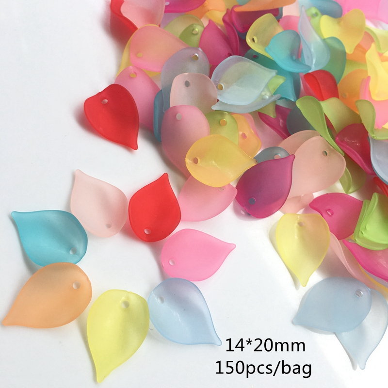 14 * 20mm 150 PCS Acrylic Beads Tembus Kusam Polish Frosted Water Drop Leaf Beads Fit Perhiasan Handmade DIY Craft aksesoris