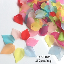 14*20mm 150PCS/bag MEIDEHENG Acrylic Beads Translucent Dull Polish Leaves Shape Fit Jewelry Handmade DIY Craft Accessories