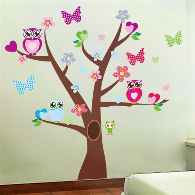 lovely owls rbol pegatinas de pared para nios sala de decoracin infantil animales de dibujos animados