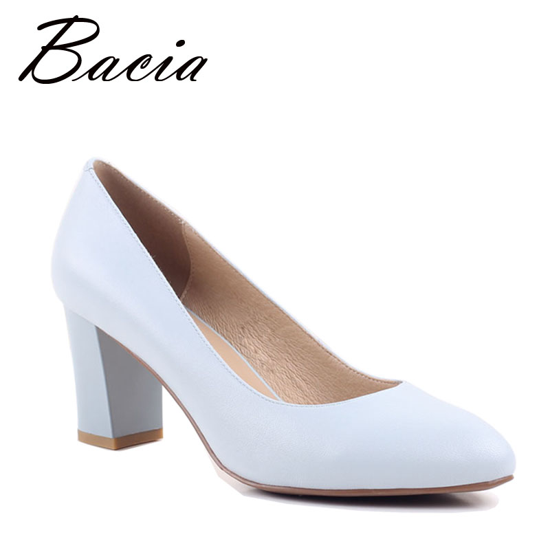Bacia Sheep Skin Shoes Women Square Heels Pink Black Pumps Round Toe Medium Heel Genuine Leather