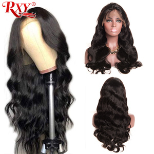 Image 1 - Ciało koronkowa fala przodu peruki z ludzkich włosów dla czarnych kobiet PrePlucked naturalną linią włosów z dzieckiem włosy RXY 13x4 brazylijska peruka z włosów typu remy