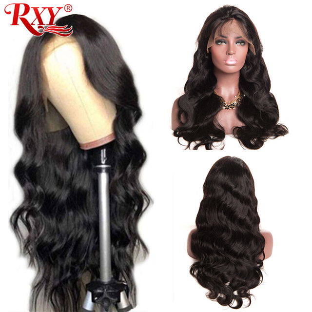 Ciało koronkowa fala przodu peruki z ludzkich włosów dla czarnych kobiet PrePlucked naturalną linią włosów z dzieckiem włosy RXY 13x4 brazylijska peruka z włosów typu remy