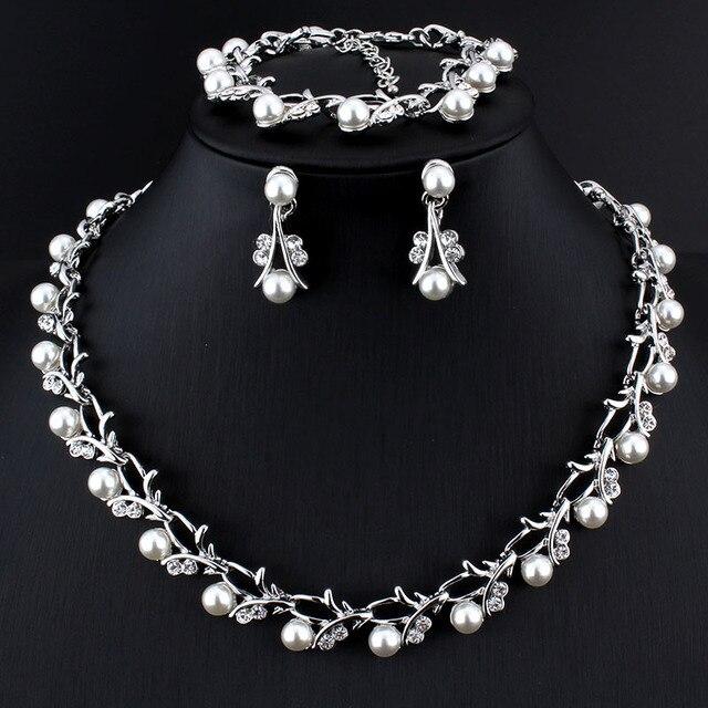 Jiayijiaduo Hot Imitation Pearl Wedding Necklace Earring Sets Bridal Jewelry Sets for Women Elegant Party Gift Fashion Costume 2