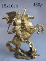 China Brass Gilt knife Guan Gong Yu Warrior God ride Zodiac Year horse Statue