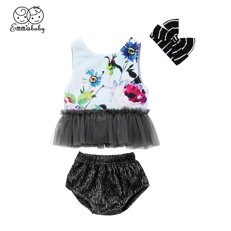 Newborn Baby Girl Clothes Summer Baby Girl Floral Print Sleeveless Tulle Patchwork Tops+Shorts Pants+Headband 3pcs Outfits 0-24M