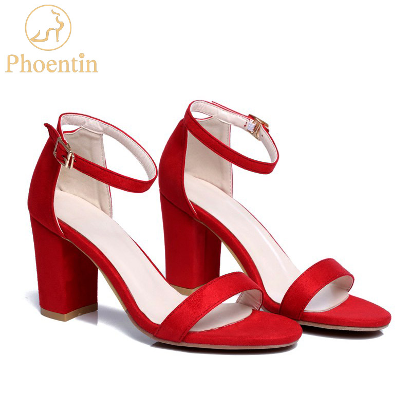 Phoentin red ankle wrap women sandals fashion summer 2018 new buckle sexy sandals high heels peep toe shallow ladies shoes FT323 new fashion rivet hollowed out women sandals round toe chunky high heels ankle buckle female sandals mesh ladies leisure shoes