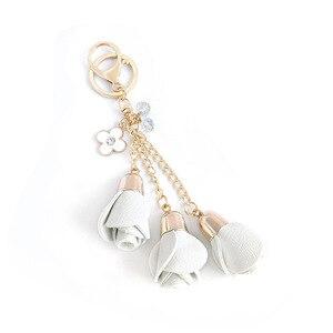 Image 4 - Dhlfree 100pcs 18 색 매력 가죽 장미 꽃 열쇠 고리 술 꽃 열쇠 고리 여성 열쇠 고리 가방 지갑 펜던트 쥬얼리