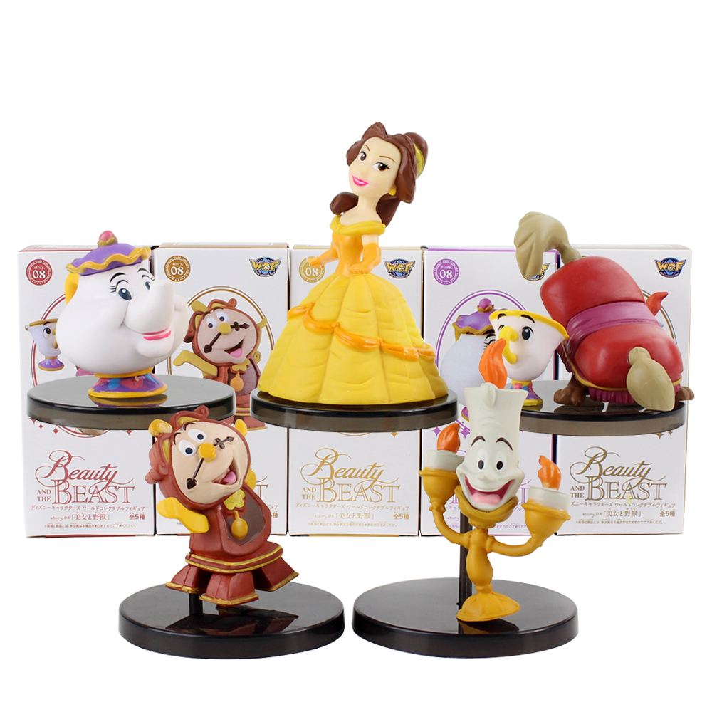 5pcs/Set Aladdin Beauty And The Beast Belle Kawaii Cute Action Figure Collectible Model Toy Gift For Kids