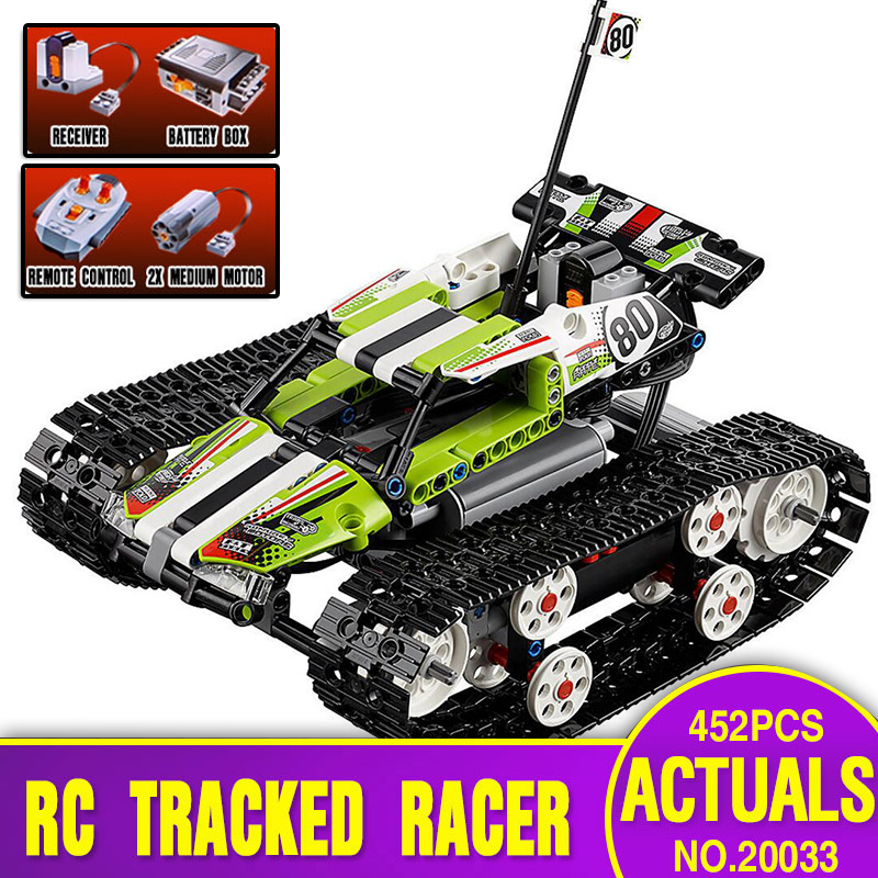 Lepin 20033 452pcs Technic Series The RC Track Remote-control Race Car Set Educational Building Blocks Bricks Toys legoing 42065 glow race track bend flex glow in the dark assembly toy 112 160 256 300pcs slot race track 1pc led car puzzle educational toys