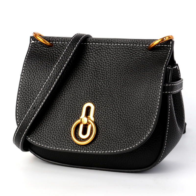 Classic Black Female Shoulder Bag Mini Lock Buckle Bag Multi-Purpose Crossbody Saddle Bags