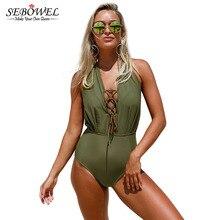 41eeffb0f73 2018 Sexy Black White Stripes One Pieces Swimsuit Plus size Swimwear Women Lace  Up Halter Monokini