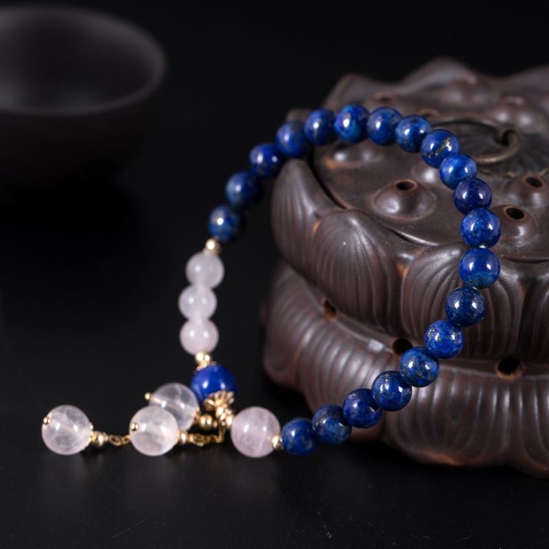 14K Gold Charm Bracelets for Women Pink Crystal and Lapis Lazuli Beads Bracelet Bohemia Vintage Original Fine Jewelry