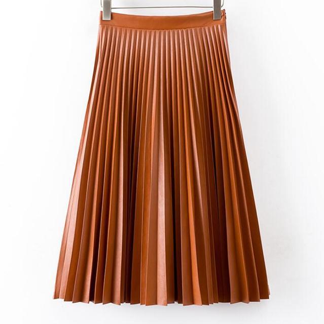 5a729903f4a Women vintage high waist pleated midi leather skirt 2017 autumn and winter  fashion pu leather skirts tutu skirt F3758
