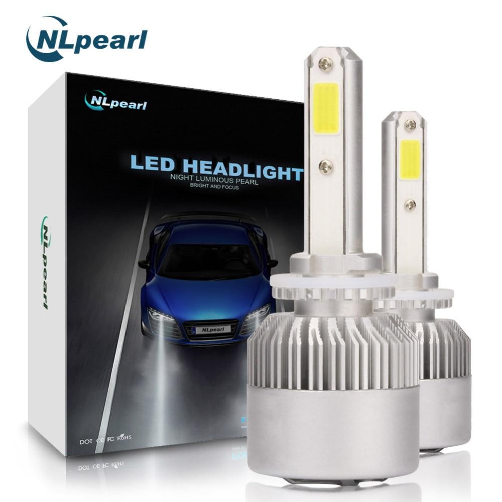 NLpearl 2 piezas 8000LM/par H27 881 bombilla LED H7 H1 H11 H3 H13 9005 9006 H4 Auto LED luz S2 COB Chips 6500 K 12 V Canbus No Error