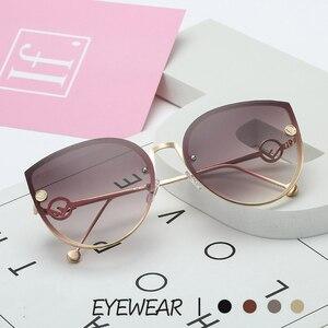 TOYEARN 2019 جديد الفاخرة إيطاليا العلامة التجارية مصمم سيدة القط العين النظارات الشمسية المرأة خمر بدون شفة التدرج نظارات شمسية ل الإناث UV400