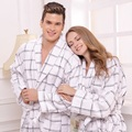 Cotton bathrobe women towel fleece bathrobe for girl winter blanket towel robe thickening lovers long soft robe plus size autumn