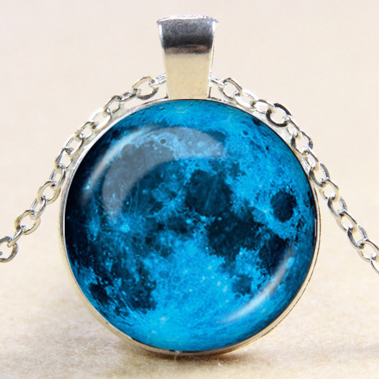 Moon Glass Pendant Moon Necklace Full Moon Necklace Space Jewelry For Men Women Gift drop shopping YLQ0758
