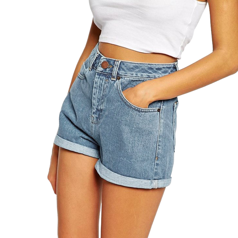BONJEAN Europe Blue Crimping Denim Shorts For Women 2018 Summer New Brand Trendy Slim Casual Plus Size Womens High Waist Shorts