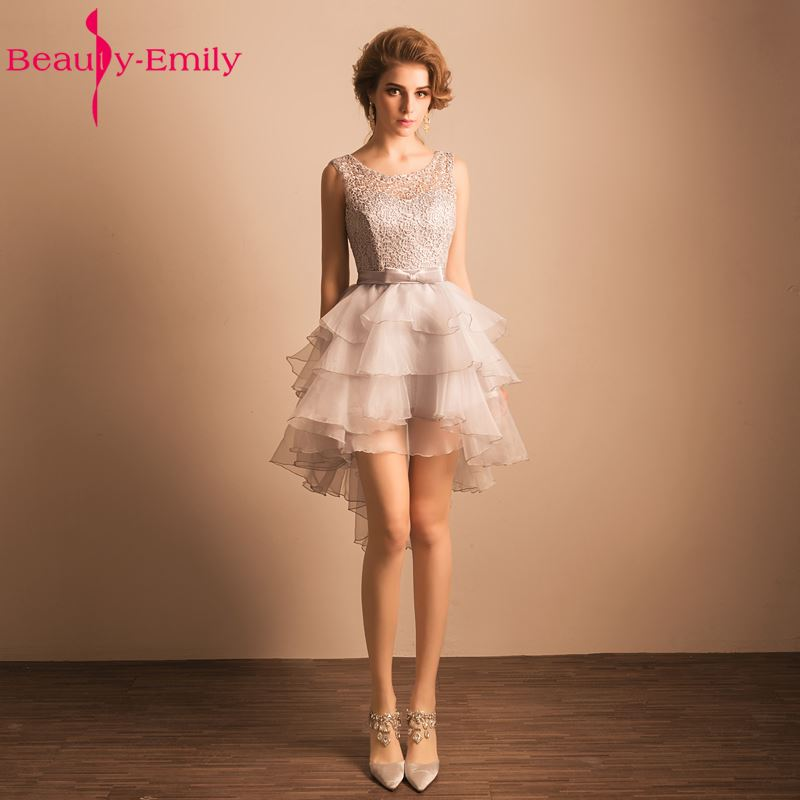 Beauty-Emily Grey Mini   Cocktail     Dresses   2018 Sexy O-Neck New Design Formal Prom Gowns Short Mini   Cocktail   Party Prom   Dress