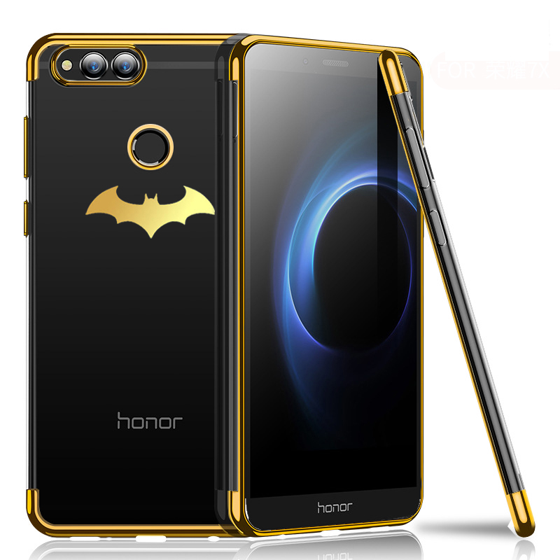 Silicone Soft Transparent Case For Huawei <font><b>Honor</b></font> <font><b>7X</b></font> 8 Lite Coque Luxury Plating TPU Cover Case For Huawei <font><b>Honor</b></font> 8 9 Lite Fundas