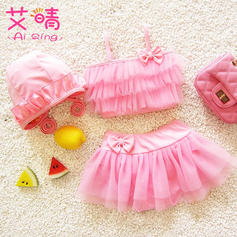 Girls Children's Swimwear Baby bikini kids Swimsuit Have hair band Two piece Swimming Suit Grils Sweet Skirt bathing suit Shower one piece little girl mermaid bow halter swimsuit baby kids girls sequins summer swimwear headband bikini set bathing suit