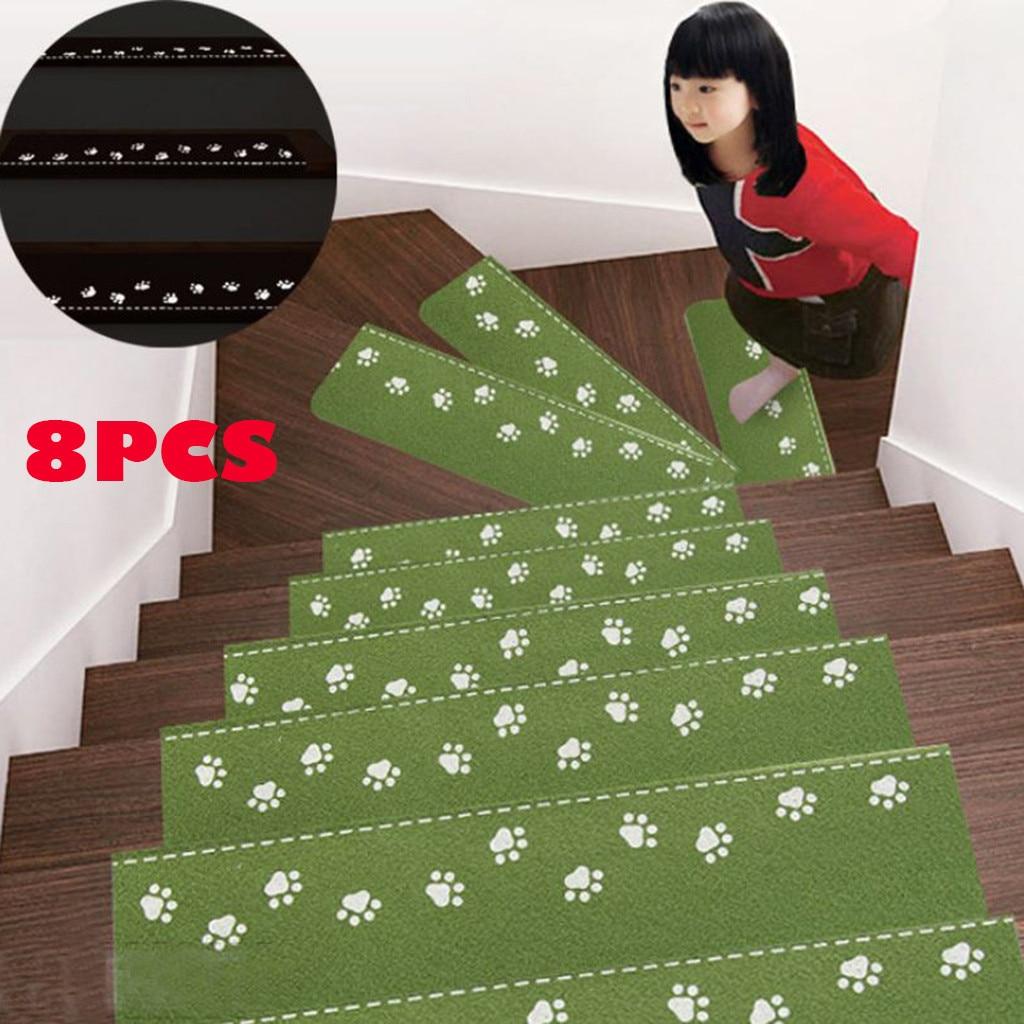 8Pcs Self-adhesive Stair Carpet Mat Step Staircase Non Slip Cover Pad Luminous Stair Mats Home Decorative felpudo deurmat