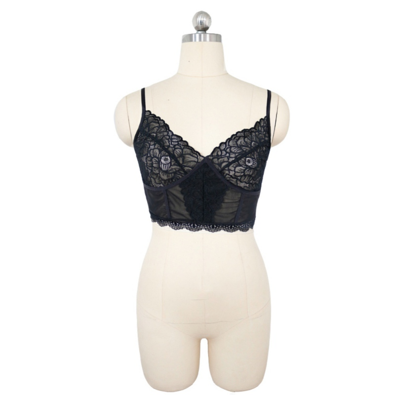 Sexy Deep V Suspenders Lace Stitching Sexy Women Bra Fun Inside Temptation No Steel Ring Sexy Bra