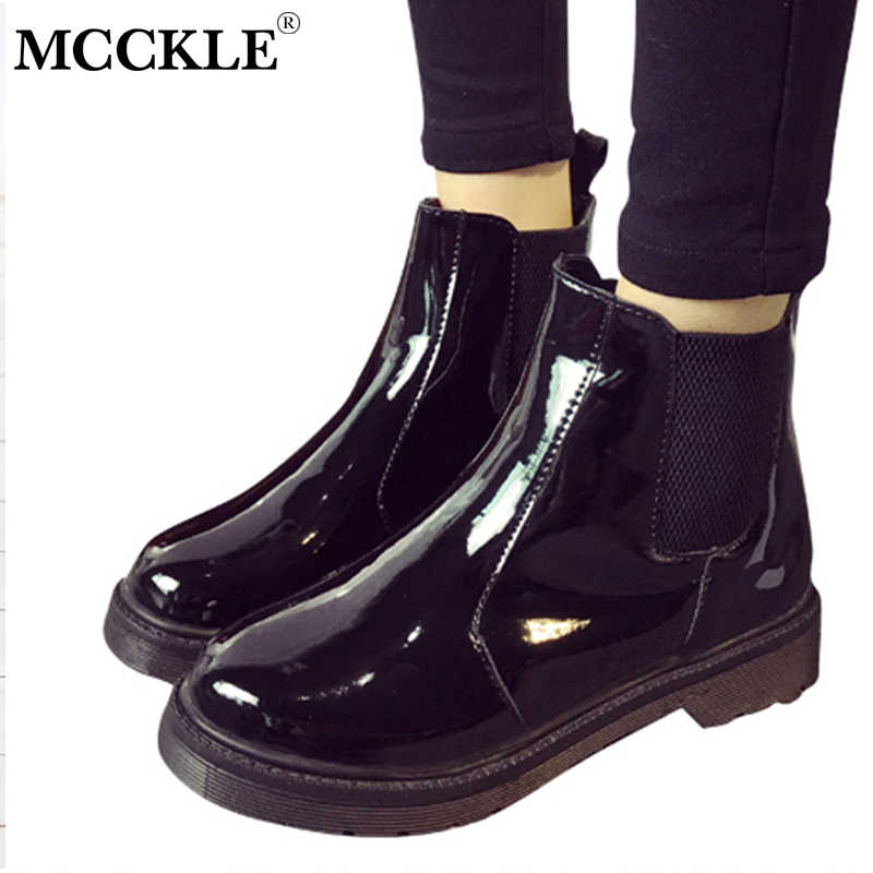 e1adc0b22cca7 MCCKLE Women Casual Platform Block Heel Chelsea Ankle Boots Female Patent  Leather Slip On Short Boots