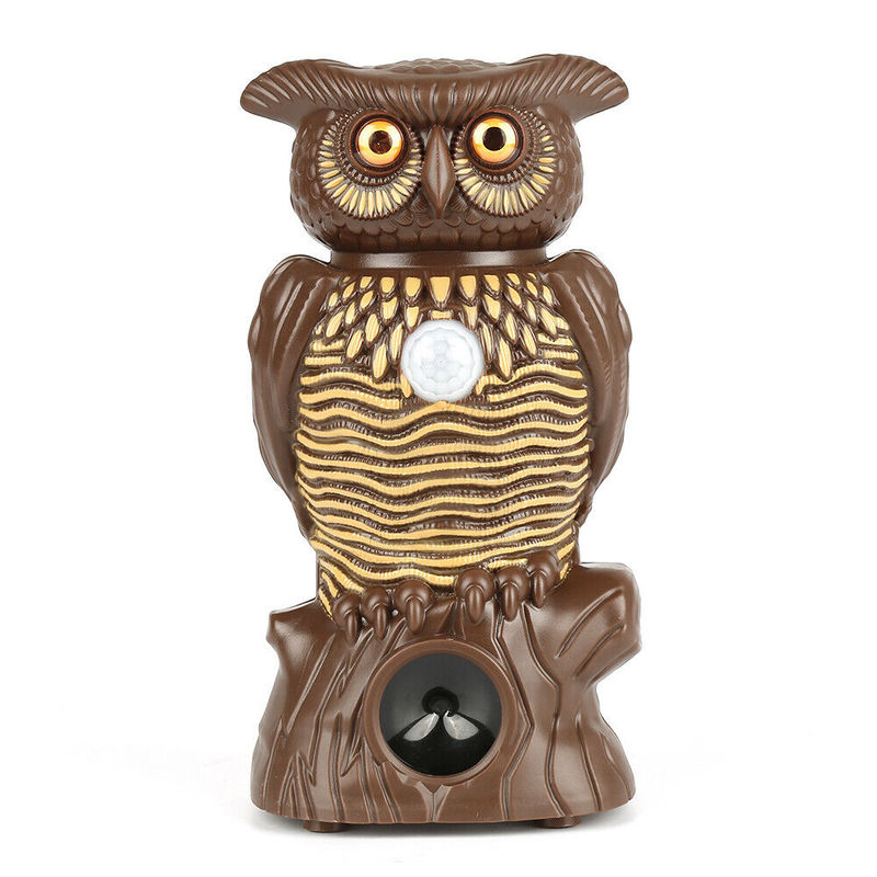 Owl Alert Owl Statue Pesticide-free Ultrasonic Pest Repeller Control Plastic Owl Statue with Light-up Eyes for Garden Yard Fence