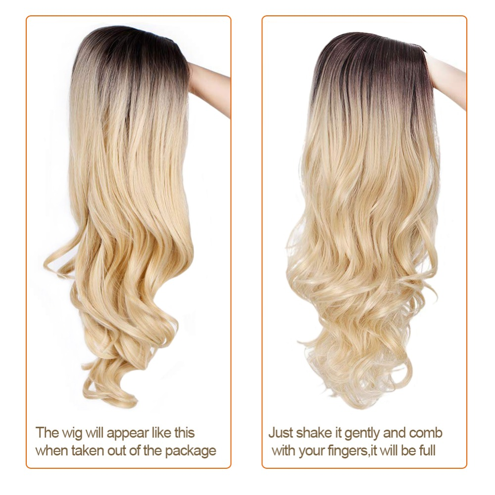 Pageup Middle Part Ombre Blond Wig For Women Heat Resistant Fiber Ladies Daily Cosplay Long Wavy Hair Curly Synthetic Blonde Wig (7)